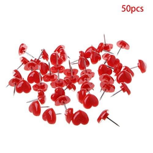 Wodwad 50 Pcs Heart Shape Plastic Quality Colored Push Pins Thumbtacks Office School (Red) ()