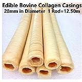 Edible Bovine Collagen Casings 28mm in Diameter Total Lenght 12.50M / 41 Ft (2, 82Ft / 25m)