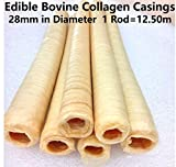 Edible Bovine Collagen Casings 28mm in Diameter Total Lenght 12.50M / 41 Ft (2, 82Ft / 25m)