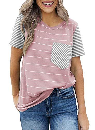 f0d0e2593b4c CANIKAT Women's Crew Neck Short Sleeve T Shirts Striped Color Block Pocket  Soft Stretchy Blouses Tops