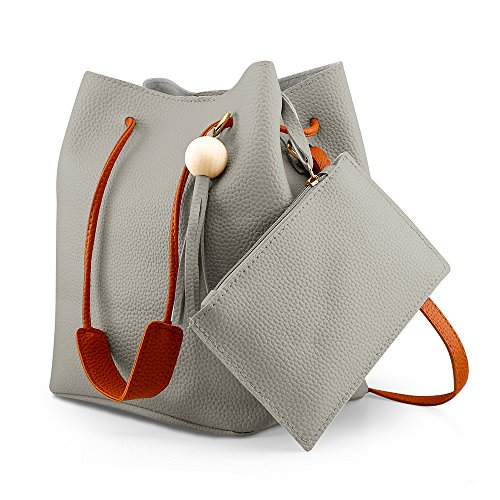 Oct17 Fashion Tassel buckets Tote Handbag, Women Messenger Hobos Shoulder Bags, Crossbody Satchel Bag - Light Gray