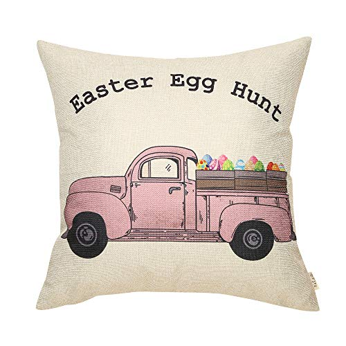 Fjfz Rustic Farmhouse Decor Easter Egg Hunt Sign Vintage Egg Truck Decoration Spring Country Gift Cotton Linen Home Decorative Throw Pillow Case Cushion Cover with Words for Sofa Couch, 18 x18