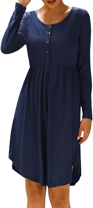VEMOW Vestido de Camiseta Suelto Mujer Color sólido Manga ...