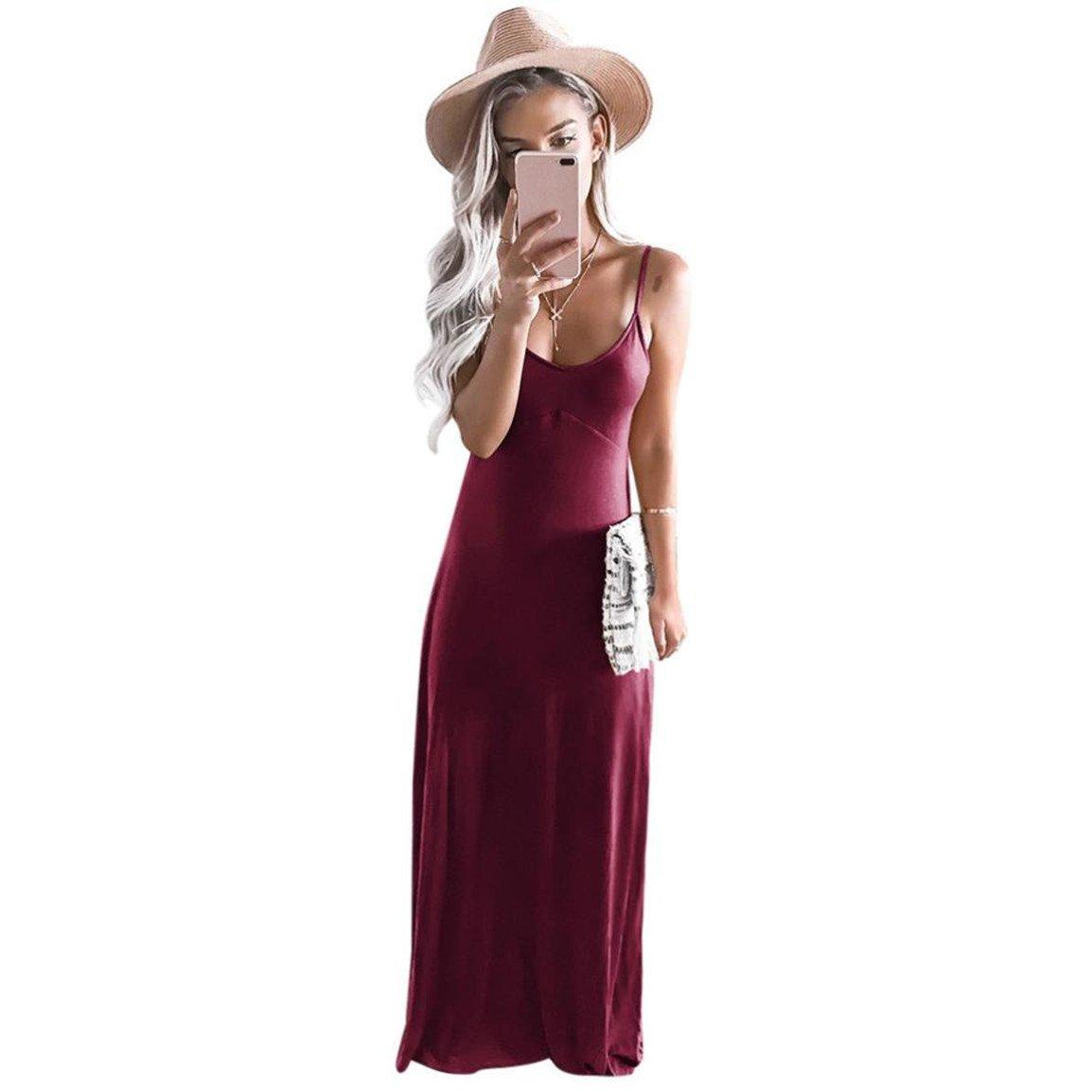 Moonuy,Frauen langes Kleid, schön ärmellos täglich tragen Casual V ...