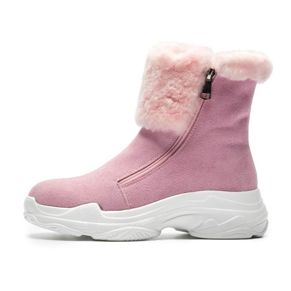 YAN Damenstiefel Wildleder Winter Schnee Stiefel verdickte Flache Slip-Schuhe Plattform Stiefelies warme Baumwolle Schuhe Outdoor Wanderschuhe schwarz Rosa