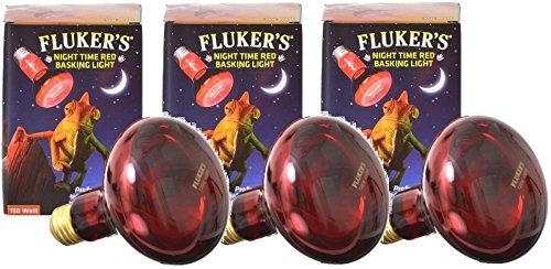 Flukers Red Heat Bulbs - Fluker's 3 Pack of Red Night Time Infrared Heat Lamp Basking Spotlight for Reptiles, 75 Watt