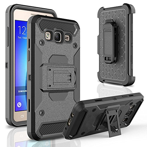 Galaxy ON 5 Case,Telegaming Heavy Duty Hybrid Impact Resistant Shockproof Hard Armor Cases With Screen Protector Holster [Belt Swivel Clip][Kickstand] Cover For Samsung Galaxy ON5 G550 Black