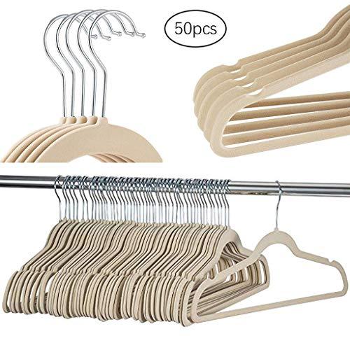 (Euone 50 Pack Non-Slip Velvet Hangers for Coats, Jackets, Pants, & Dress Clothes)
