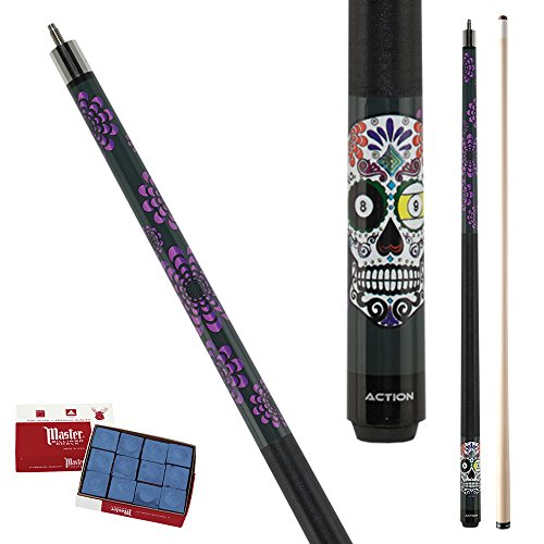Action Calavera CAL03 Colorful Skull 8-Ball & 9-Ball Pool Cue Stick with 12 pieces of Master Billiard Chalk (21)
