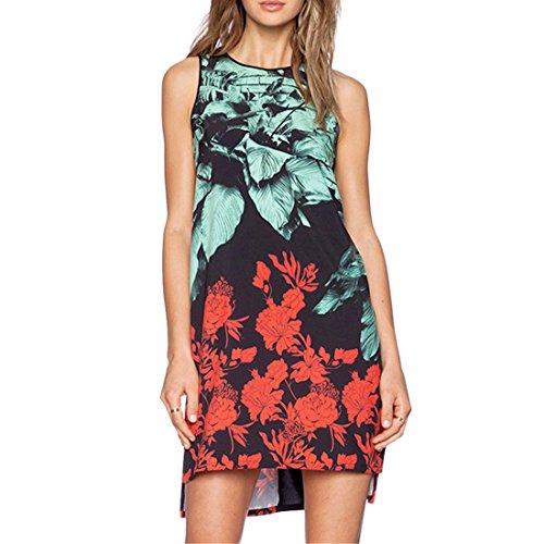 Printed Slim XXL Asymmetry Retro XS Flower Skinny Multicolour Chiffon Women Sleeveless Dress EgFxq