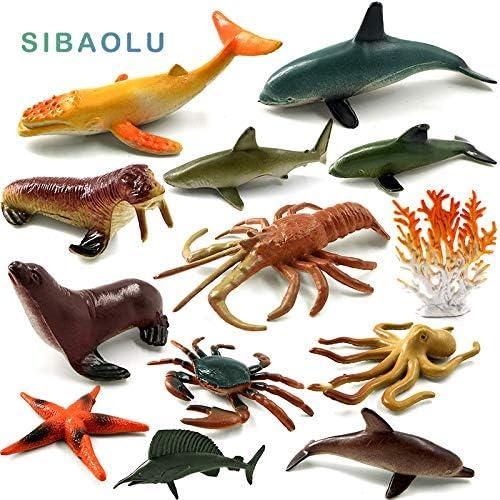 6pcs Plastic Ocean Creatures Sea Horse Dolphin Animals Figure Kids Toy Gift
