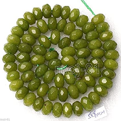 """5X8MM FACETED EMERALD GREEN JADE RONDELLE ABACUS LOOSE BEADS STRAND 15/"""" AAA"""