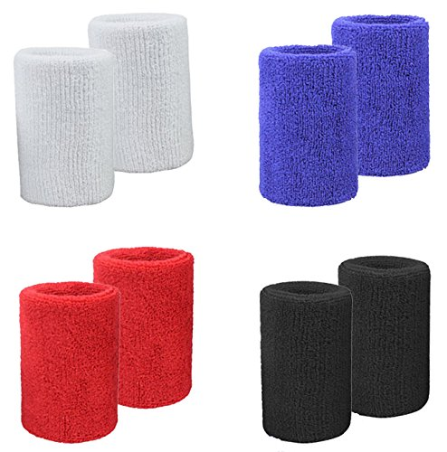 MAKLULU Double Terry Sweat Wristbands, 2 Ply Thickness Terry Cloth Moisture Wicking for Sports & Outdoors, 8PCS Colorful Pack - M01