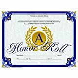 A Honor Roll Certificate - Gold Laurel Leaves - Glossy Paper - Quantity 150
