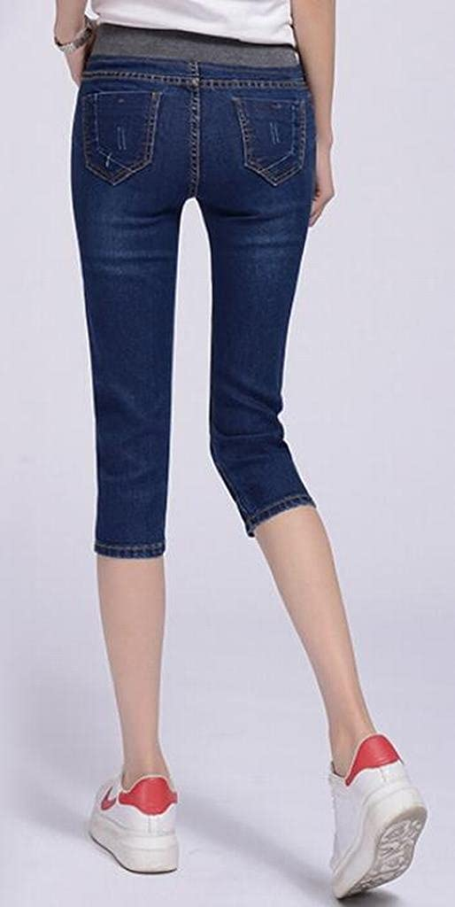 Fubotevic Women Elastic Waist Stretchy Plus Size Capri Pants Denim Jeans Pants Trousers