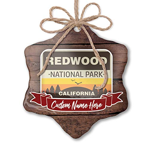 NEONBLOND Custom Family Ornament National Park Redwood Personalized Name