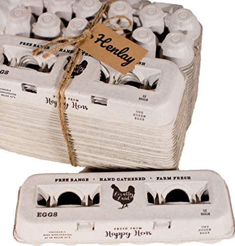 25 Egg Cartons- Adorable Printed Design for Farm Fresh Eggs, Recycled Paper Cardboard, Sturdy & Reusable, Holds up to XL Chicken Eggs