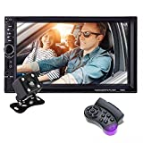 KKmoon 2 Din Car Radio, 7 inch Touch Screen Double Din Car Stereo, Support Microphone BT /FM /USB / TF / AUX, HD 1080P Car MP5 Player with Rearview Camera + Remote Control