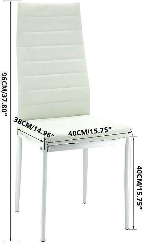 jeffordoutlet Set di 4 sedie da pranzo con schienale alto con gambe cromate Mobili da cucina moderni 4 Sedie da pranzo