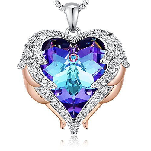 NEWNOVE Heart of Ocean Pendant Necklaces for Women Made with Swarovski Crystals