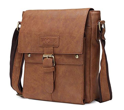 VOCHIC Vintage PU Leather Travel Messenger Bag for iPad Crossbody Shoulder...