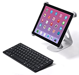 Pwr+ External Slim Wireless Keyboard for Tablet Apple Android Bluetooth - Hd Hdx Ipad Iphone Asus Transformer Nexus Samsung Galaxy Tab A 4 3 2 1 Note Acer Iconia Hp Dell Google Lenovo Black