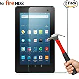 [2 Pack] ZTOZ All New HD 8 Tablet Tempered Glass Screen Protector (8th/7th/6th Generation,2018/2017/2016 Releases), [LifeTime Replacement Warranty][Anti-Scratch][Bubble Free][Easy Installation]