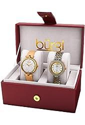 Burgi Women's BUR152YG Analog Display Quartz Yellow Watch Set