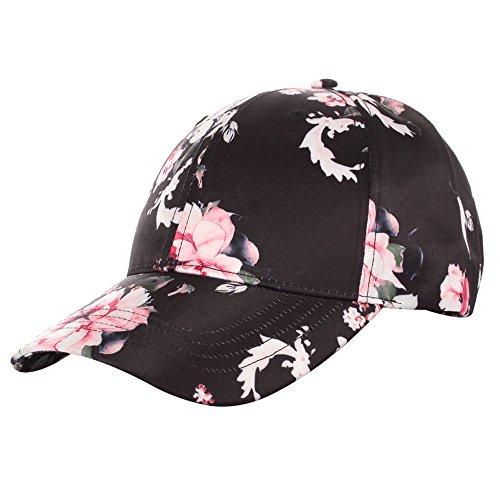 Silk Cap Baseball (A&O International Floral Print Baseball Hat Satin, Black)