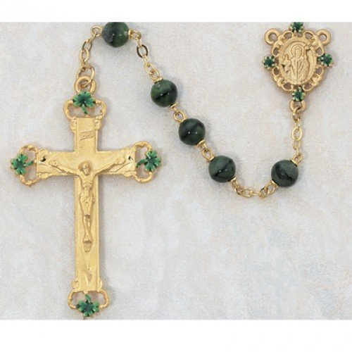 - 7mm Gold Green Glass Rosary Gold Plated Pewter Center & Crucifix Deluxe Gift Box Included