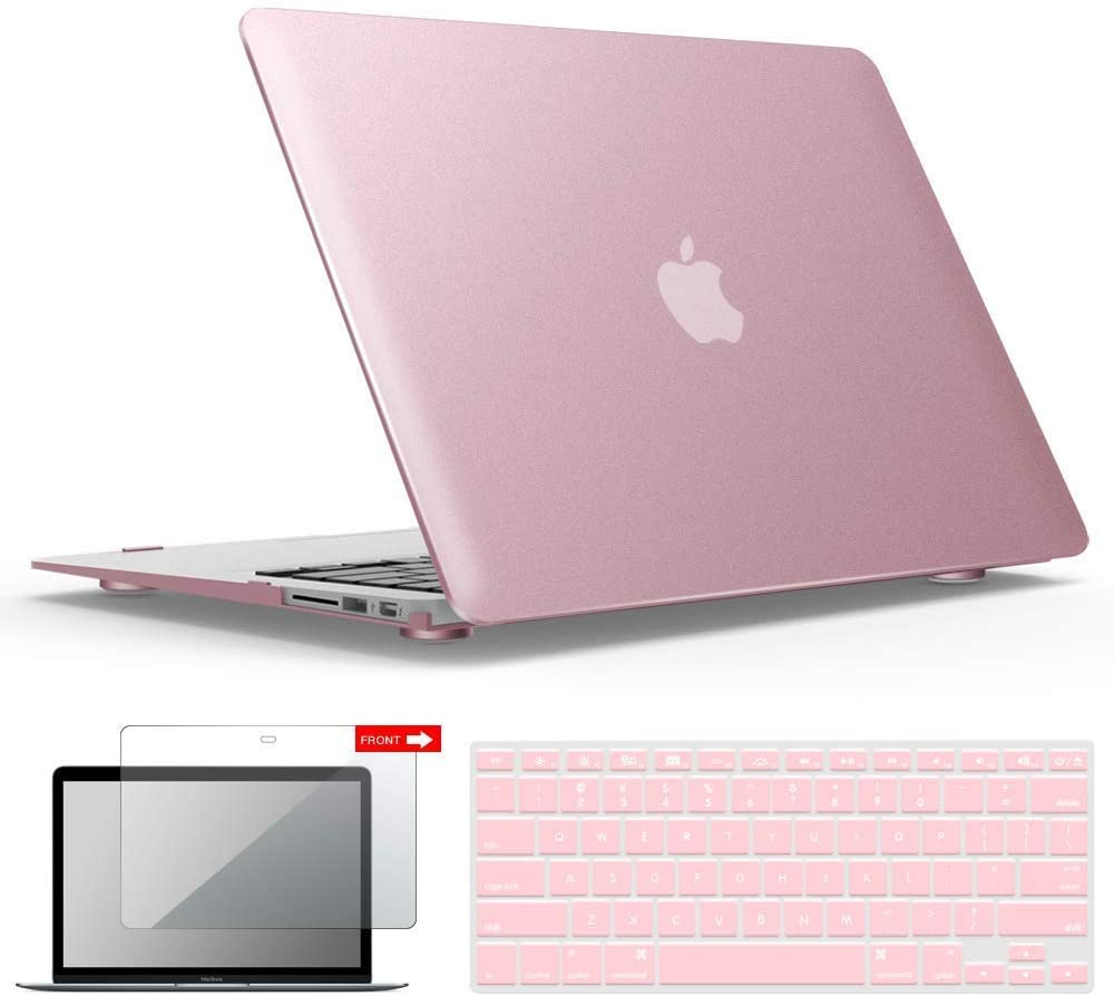 IBENZER MacBook Air 13 Inch Case A1466 A1369, Hard Shell Case with Keyboard & Screen Cover for Apple Mac Air 13 Old Version 2017 2016 2015 2014 2013 2012 2011 2010, Rose Gold, A13MPK+2