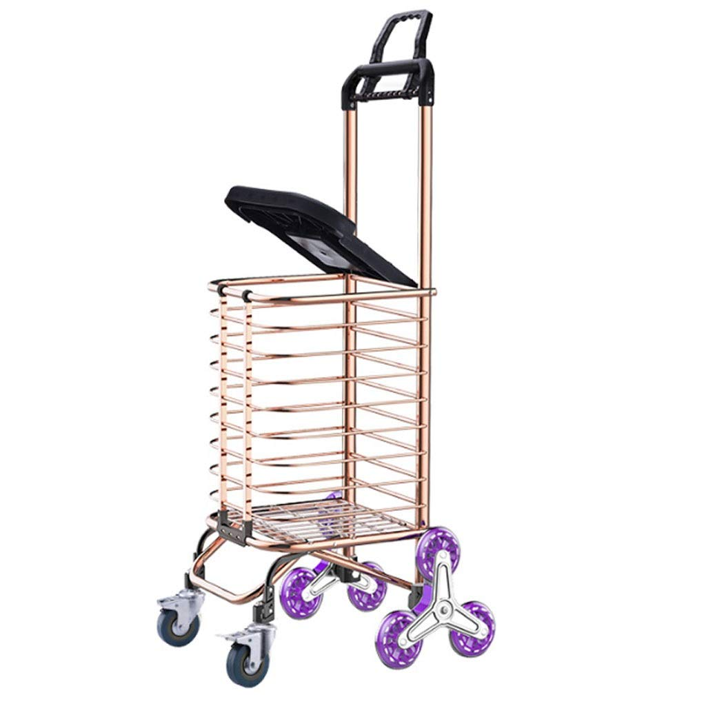 Xilinshop Portable Utility Carts Can Climb The Stairs Shopping Cart Folding Portable Shopping Cart Home Grocery Cart Trolley