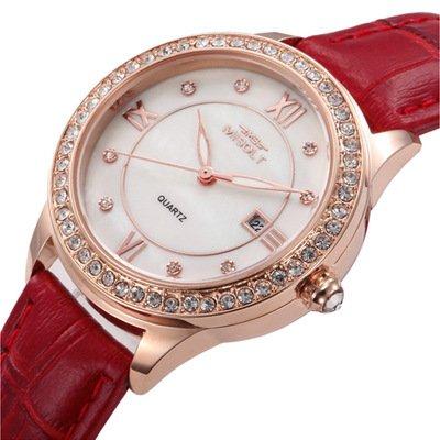 Relojes suizos señoras relojes moda mujer forma femenina calendario diamante dial grande ocasional-Red