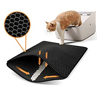 """Polarduck Cat Litter Mat, 20"""" X 16"""", Cat Litter Trapping Mat, Honeycomb Double Layer Design, Urine and Water Proof Material, Scatter Control, Special Side Handles Design Easier to Clean,Washable"""