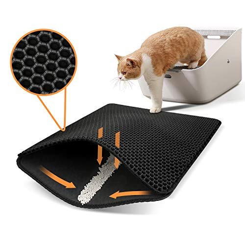 Polarduck Cat Litter Mat,Cat Litter Trapping Mat Extra Large, Honeycomb Double Layer Design, Urine and Water Proof…