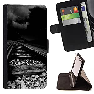 Momo Phone Case / Flip Funda de Cuero Case Cover - Desgastado ferrocarril tormenta Oscuro Negro - HTC One M9