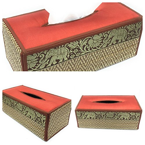 WD store FB-06-Handmade Thai Woven Straw natural Reed Rectangular Tissue Box Cover with Silk Elephant Design 5x3.7x10.2 Inch