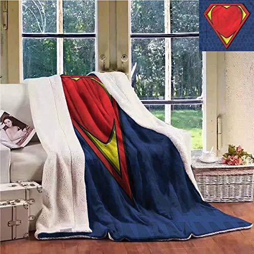 Sherpa Fleece Blanket Superhero Heart-Shaped Shield Form Personalized Baby Blanket W59x78L