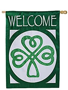 Evergreen Celtic Shamrock Welcome Applique House Flag, 28 x 44 inches