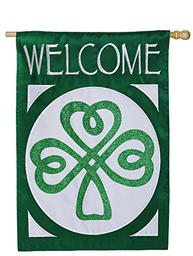 Evergreen Flag Celtic Shamrock Welcome Applique House Flag, 28 x 44 inches