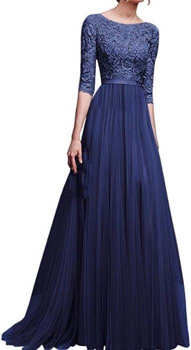 ed5e98e119f0f9 Frauen Spitze O-Ausschnitt Chiffon Blumenmädchen langes Kleid Prinzessin  Abendkleid