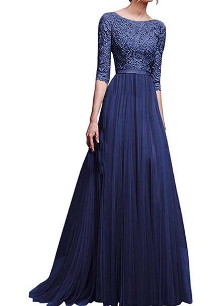 Vestido largo de flores de gasa de encaje de la princesa Vestido de noche de la