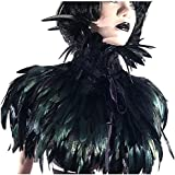 L'VOW Black Gothic Victorian Natural Feather Cape Shawl Stole Poncho with Choker Collar (Black)