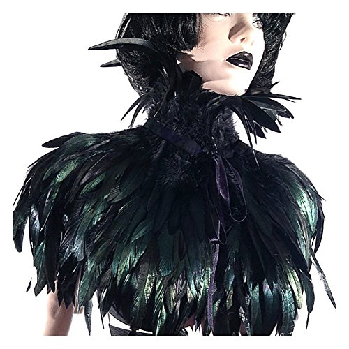 L'VOW Black Gothic Victorian Natural Feather Cape Shawl Stole Poncho with Choker Collar ()