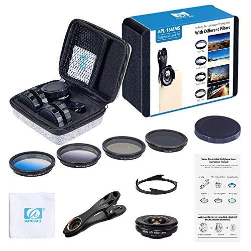 Apexel 6 en 1 Universal Clip-on Kit de Lentes de la c/ámara del tel/éfono Celular 0.6X Gran Angular 10X Lente Macro 4 filtros para el iPhone 6//6S Borde S8 y la mayor/ía de los tel/éfonos Inteligentes