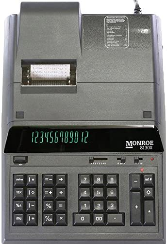 (1) Monroe 8130X 12-Digit Print/Display Professional Heavy-Duty Calculator in Black with Extended Life Calculator Body 51WKzwb1ZNL