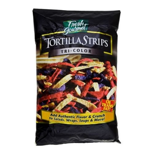 Fresh Gourmet Crunchy Toppings for Salad, Tri-Colored Tortilla Strips, 16-Ounce Packages (Pack of 10) - Fresh Gourmet Tortilla Strips