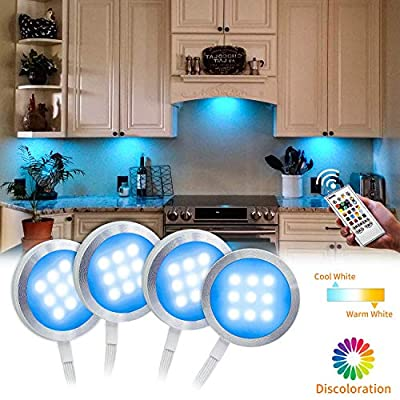 Under Cabinet Lighting Kit- Bason Color Changing Puck Lights?Aluminum RGBW Cabinet Kitchen Lighting for Kitchen Shelf Decoration,Color DIY Timing Function with Remote Control