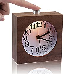 IreVoor Square Walnut Wooden Silent Desk Alarm Clock with Nightlight