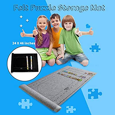Puzzle Mat Kid's Puzzle Exercise Play Mat 24x46 inch Puzzle Storage Mat Roll Up Puzzle Felt for Up to 1500 PCS for Jigsaw Puzzle Player, Box with Drawstring Storage Bag: Toys & Games